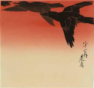 Zeshin Shibata - Three Crows in Flight 1920s MULLER Est