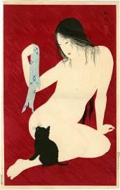 Hiroaki (Shotei Takahashi) Nude with Cat 1927 Woodblock