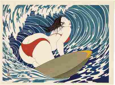 Okada Yoshio: Surfer Girl 1st Ed Woodblock