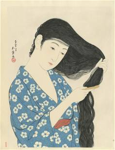 Goyo Hashiguchi: Combing Hair 1920 Woodblock