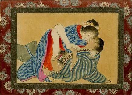 Unsigned - Shunga Painting on Silk Original c1870/80s