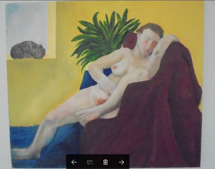 OIL PAINT NAKED WOMAN UNSIGNED