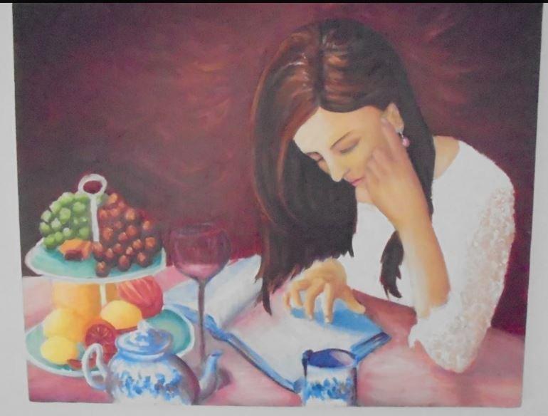 ORIGINAL OIL PAINTING WOMEN READING