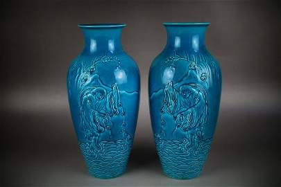ULTRA IMPORTANT PAIR VASES, QIANLONG MARKED & PERIOD