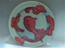 A RARE & LARGE GUAN WARE JUN RED-SPLASHED PLATE