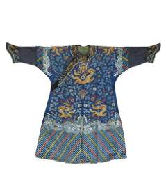 A Fine Chinese Embroidered Dragon Robe, Qing Dynasty