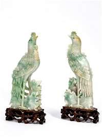 Chinese Jadeite Carved Standing Phoenix Pair