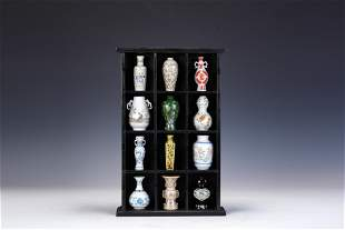 Japanese miniature porcelain vase set