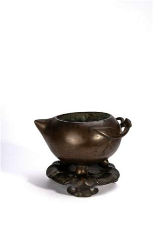 Chinese Peach-Form Censer with stand