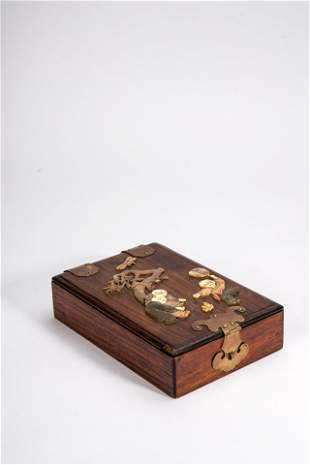 Chinese Huanghuali Inlaid Boys Scholar's Box
