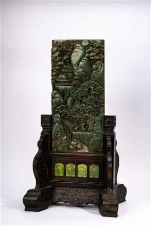 Large Chinese Green Jade Panel Screen