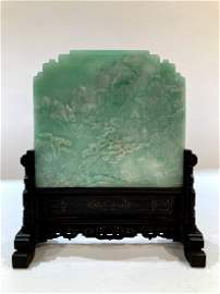 Magnificent Chinese Jadeite Table Screen