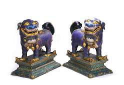 Pair of Gorgeous Chinese Cloisonne Enamel Foo Dogs