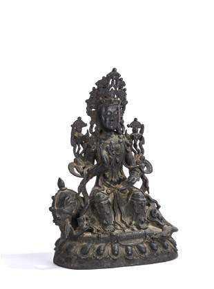 Chinese Bronze Figure of Buddha on Lion