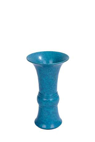 Chinese Robin's Egg Glaze Archaistic Gu Vase