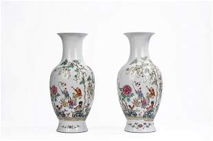 A Pair of Large Chinese Famille Rose Boys Vases