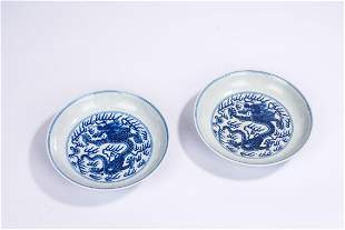 A Pair of Chinese Blue and White Dragon Dishes