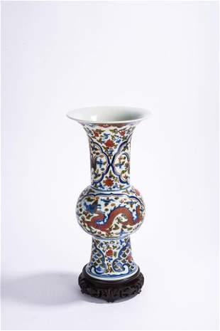 Chinese Wucai Dragon & Phoenix Gu Type Vase