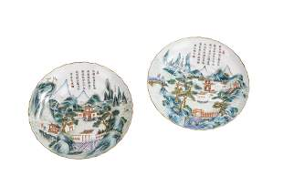 A Pair of Chinese Famille Rose Landscape & Poem Dishes
