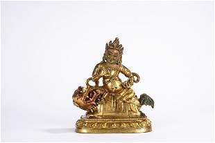 A Tibetan Gilt Bronze Figure of Vaishravana