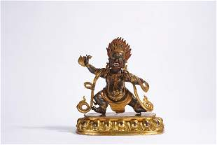 A Tibetan Gilt Bronze Figure of Mahakala