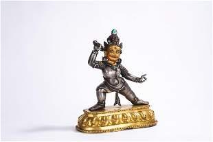 Tibetan Gilt Silver and Bronze Figure of Bodhisattva