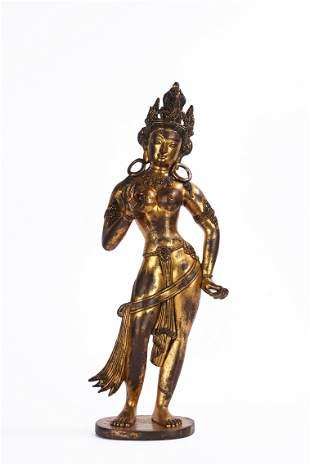 Nepalese Gilt Bronze Standing Figure of Bodhisattva