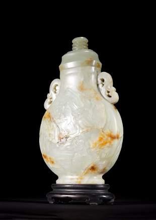 Large Chinese White Nephrite Jade Figures Vase