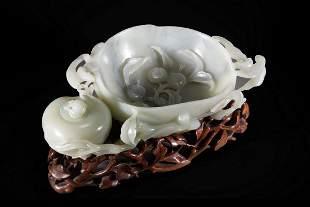 Chinese Celadon Jade 'Ram' Head Washer