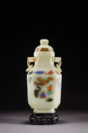 Chinese White Jade Inlaid Vase and Cover