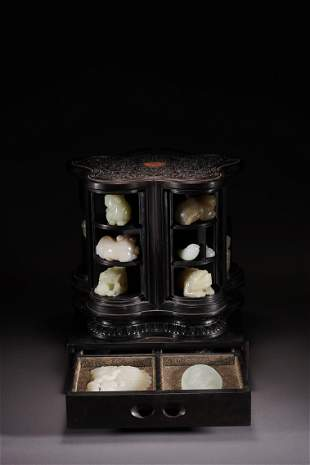 Chinese White Jade Carving Set & Rosewood Curio Cabinet