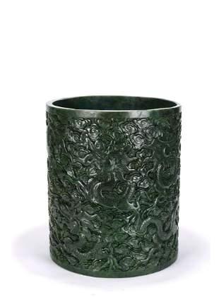 Large Chinese Spinach Green Jade Dragon Brush Pot