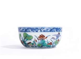 Chinese Doucai Duck & Lotus Bowl