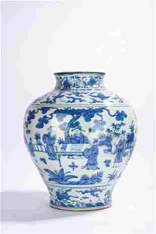 Large Chinese Blue and White Figures Jar