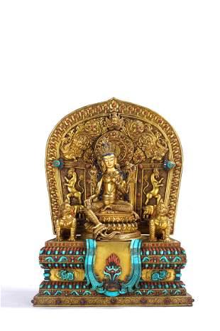 Fine Tibetan Gilt Bronze Figural Group of Tara & Lions