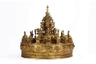 Gorgeous and Rare Tibetan Gilt Bronze Mandala