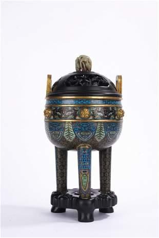 Chinese Cloisonne Enamel Tripod Censer