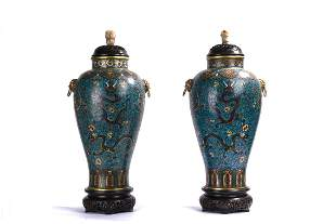 A Pair of Large Chinese Cloisonne Enamel Dragon Vases