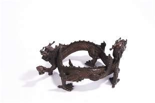Chinese Bronze Dragon Brush Rest