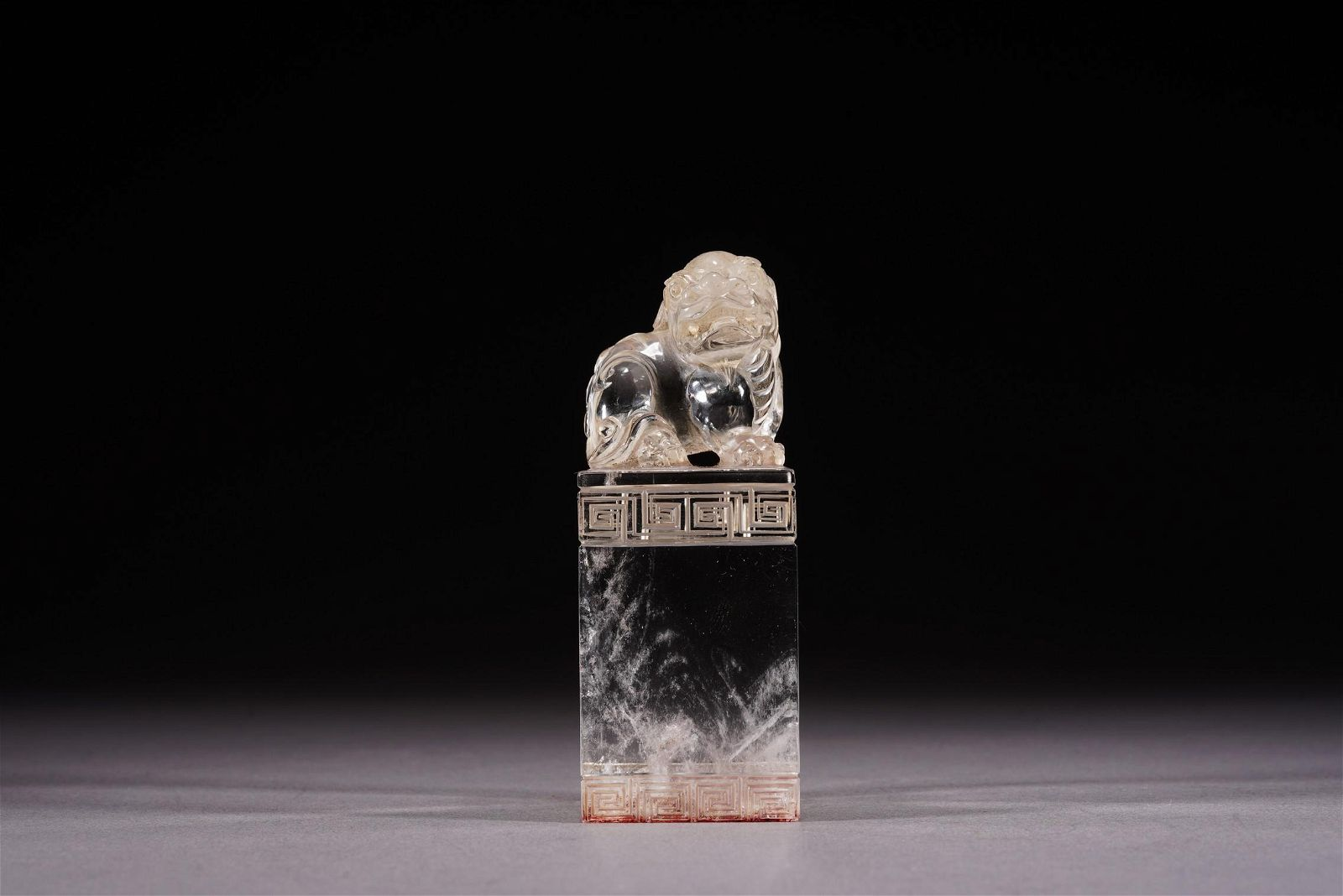 Chinese Rock Crystal Carved 'Buddhist Lion' Seal