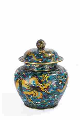 Large Chinese Cloisonne Enamel Five Clawed Dragon Jar
