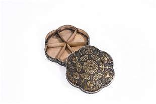 A Chinese Gilt Silver Hexagonal Box and Cover