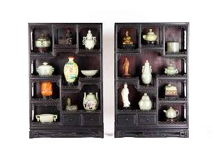 Pair of Chinese Zitan Curio Cabinets with Objects