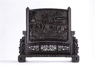 Large Chinese Zitan Relief Carved Palace Table Screen