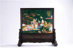 Chinese Green Jade Soapstone Inlaid Immortals Table