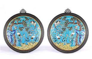 Chinese Cloisonne Enamel Cranes Circular Wall Panels