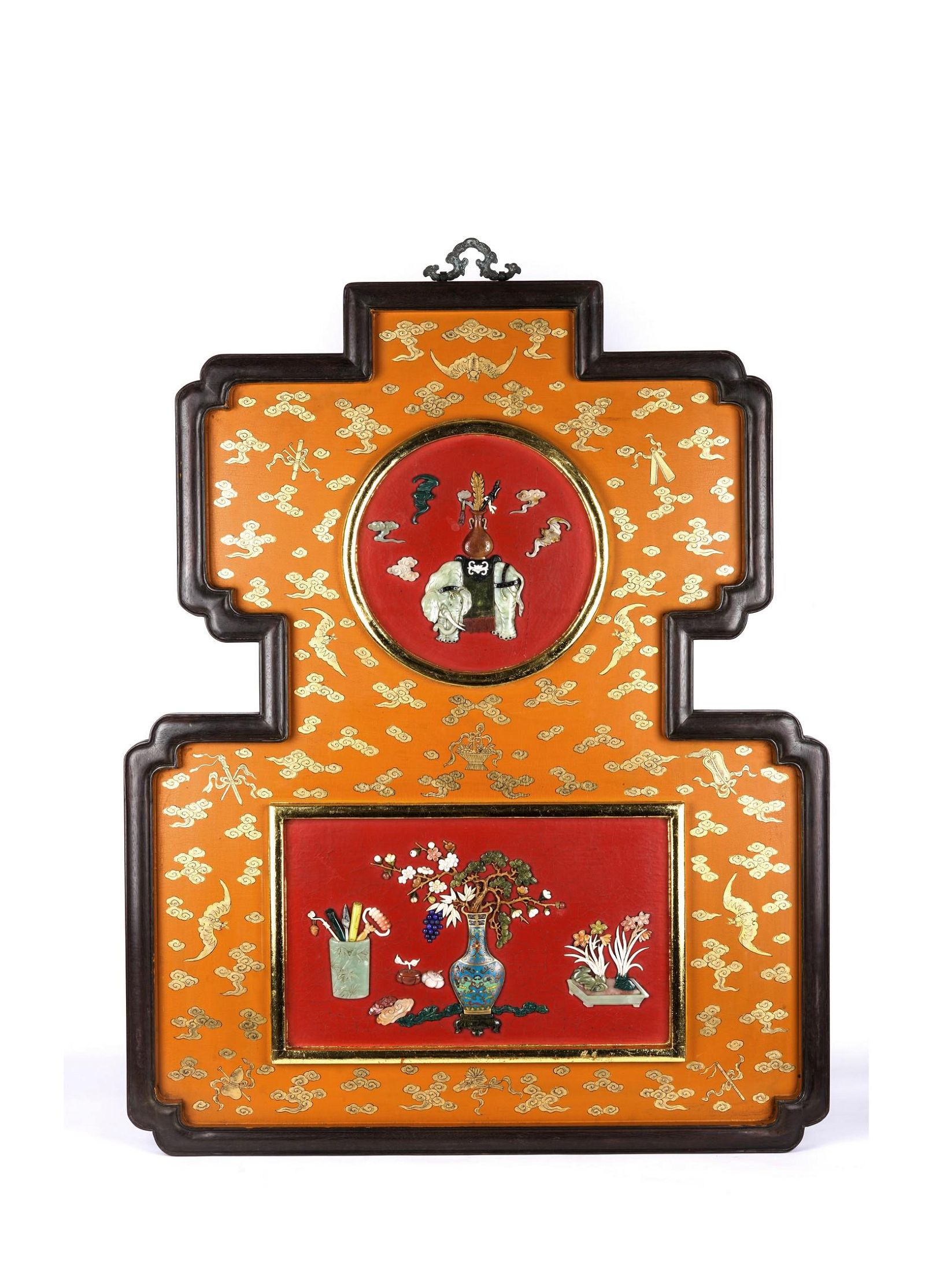 Chinese Lacquered Embellished Double Gourd Wall Panel