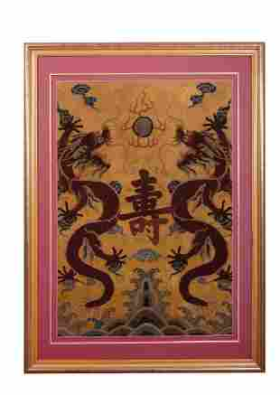 Chinese Yellow Ground Silk 'Dragon Pair' Embroidered