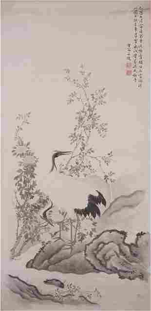 Chinese Color and Ink Cranes Painting, Chen Zhifo