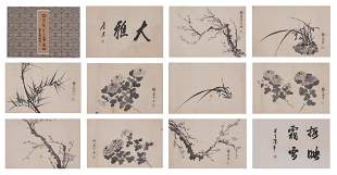 Chinese Ink on Paper Flowers Album, Mei Lanfang